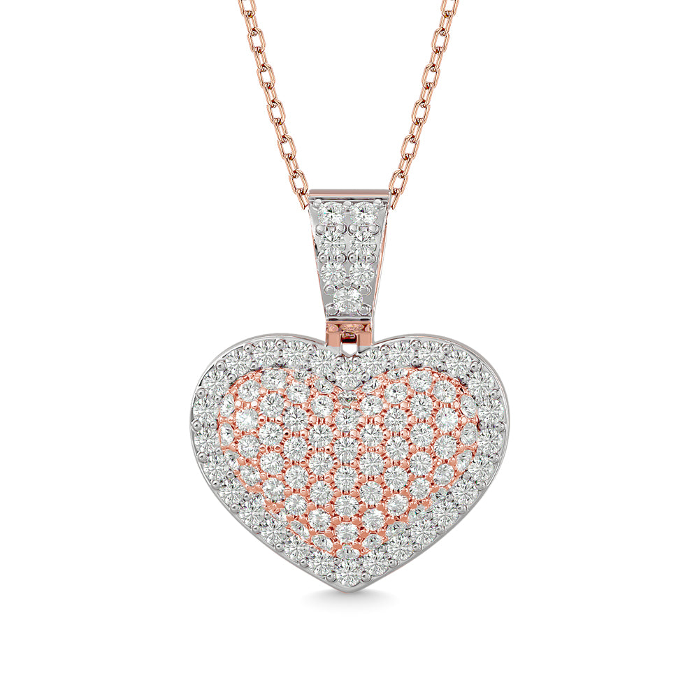 Diamond Heart Pendant with Chain 1.00 Carat in 10KT Gold and White Gold Touch