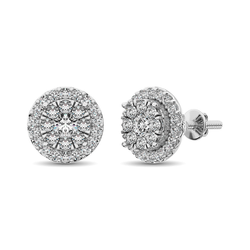 Diamond Earring Ring 0.75 ctw Round cut 14KT White Gold