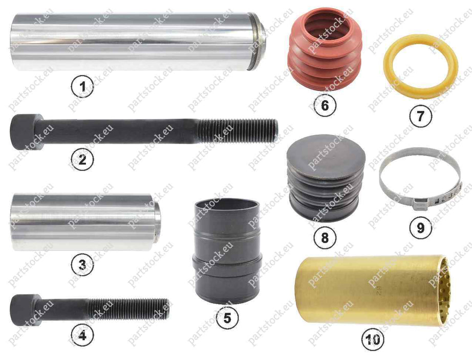 Guide pin and seal kit for Knorr Caliper. II328090062, II339680062, II36910062, 0004200782, 0004201282, 81508226009, 1390427, 1448915, 93162048, 0501211763, CKSK.1