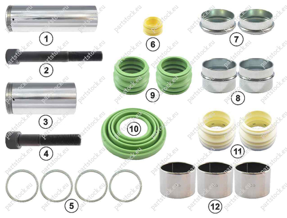 Guide pin and seal kit for Wabco Caliper. 12999738VT, 1505890, 3434382701, 79787365, CWSK.23