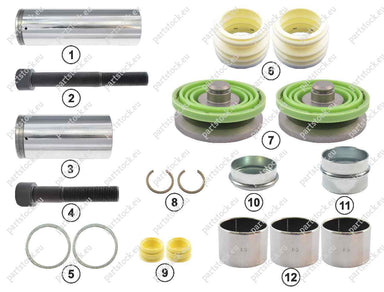 Guide pin and seal kit for Wabco Caliper. 12999746VT, 1440505, 5001858722, 261112999746VT, CWSK.5