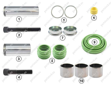 Guide pin and seal kit for Wabco Caliper. 81508226038, 6403229262