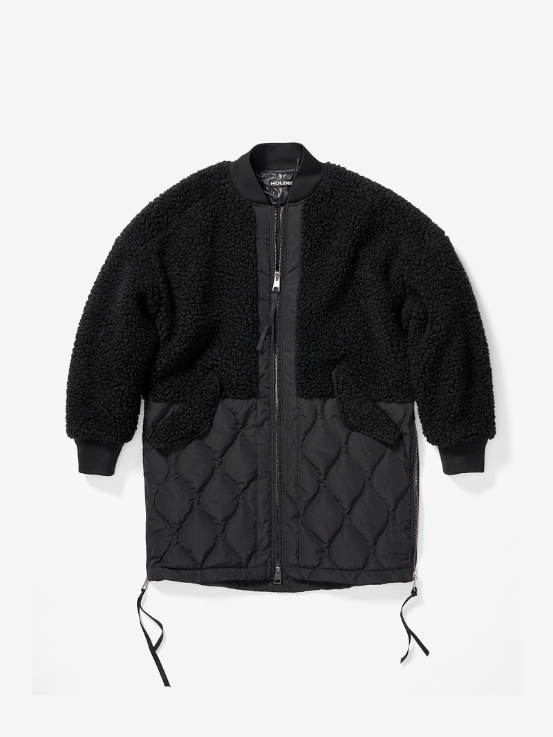 WLS-5-SW-LONG WOOL BOMBER-BLACK