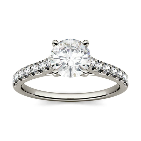 LUMD 1.85CTW Round Moissanite Solitaire with Side Accents Engagement Ring in 18K White Gold