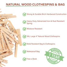 Load image into Gallery viewer, Natural Wood Clothespins & Clothespin Bag - 100 Large Laundry Pegs with Large Clothes Pins Bag