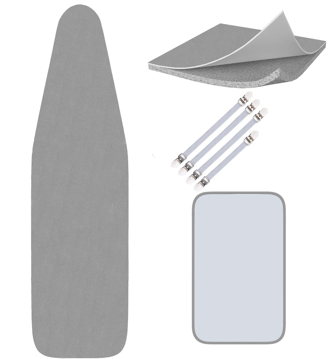 Silicone Ironing Board Cover - Scorch Proof with Bonus Adjustable Fasteners and Protective Mesh (15