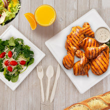 Load image into Gallery viewer, Square Compostable Eco-Friendly Plates & Silverware 250 Count Set