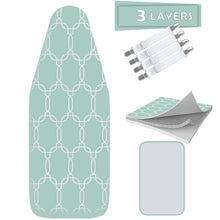 "Load image into Gallery viewer, TriFusion Silicone Ironing Board Cover - Scorch Proof with Bonus Adjustable Fasteners and Protective Mesh (18"" X 49"" - Green)"