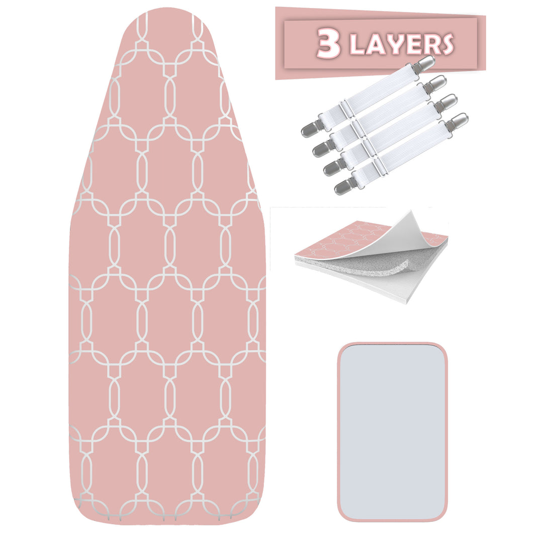 TriFusion Silicone Ironing Board Cover - Scorch Proof with Bonus Adjustable Fasteners and Protective Mesh (18