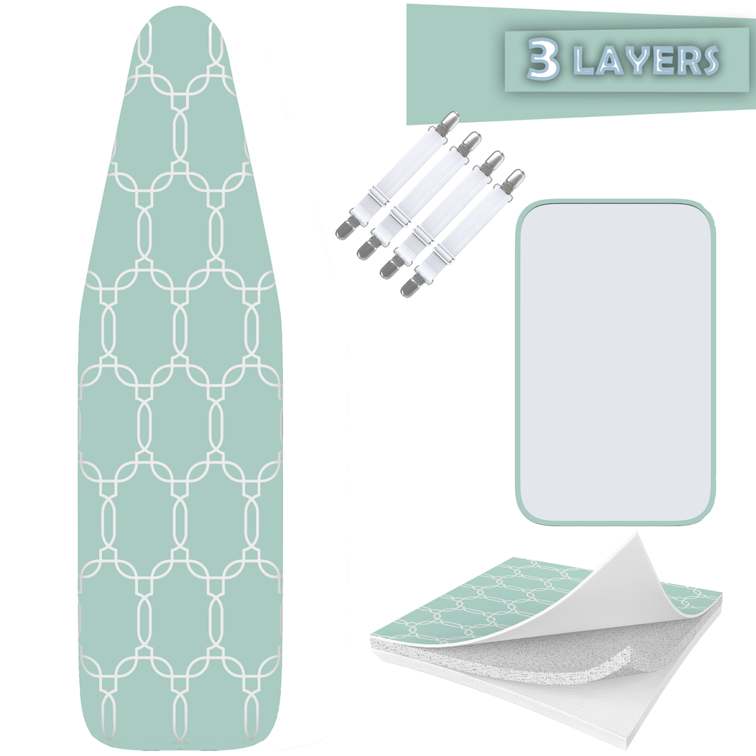 TriFusion Silicone Ironing Board Cover - Scorch Proof with Bonus Adjustable Fasteners and Protective Mesh (15
