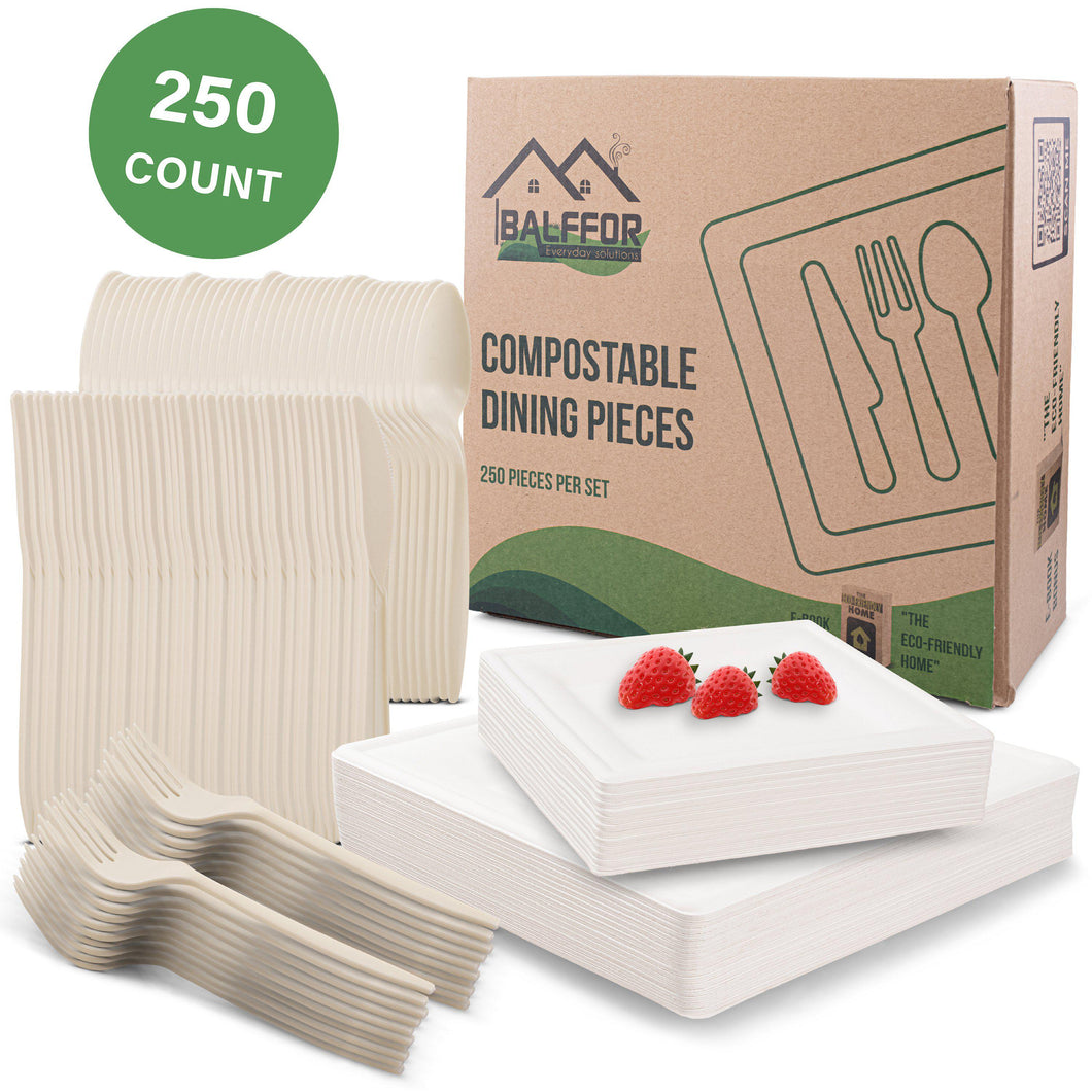 Square Compostable Eco-Friendly Plates & Silverware 250 Count Set