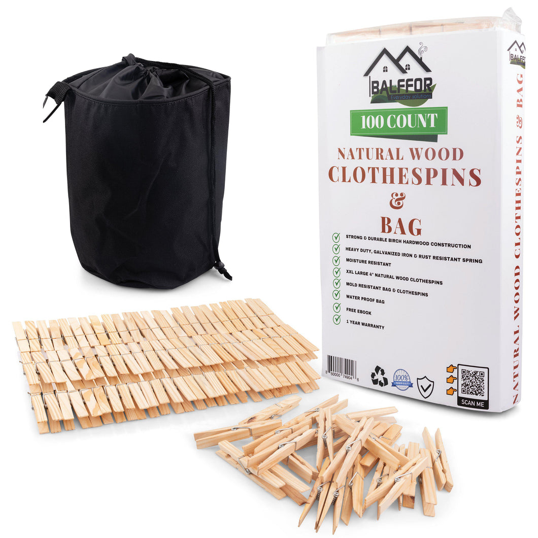 Natural Wood Clothespins & Clothespin Bag - 100 Large Laundry Pegs with Large Clothes Pins Bag