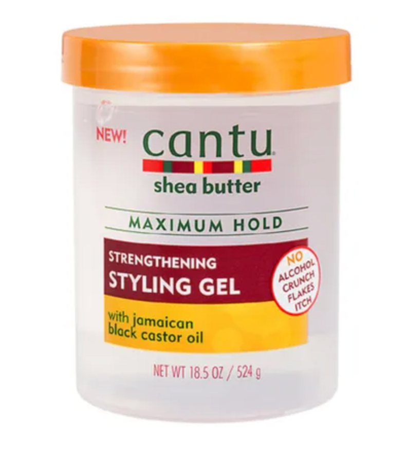 Cantu Shea butter Maximum hold strengthening styling gel with Jamaican black castrol oil