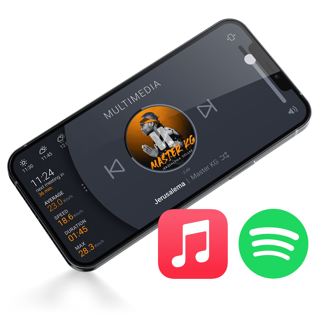 Sweel Mobile App Multimedia Compatible with Apple Music and Spotify