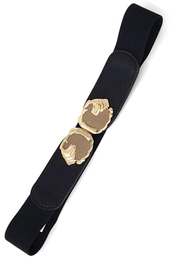 Skinny Faux Leather Antique Gold Elastic Cinch Belt