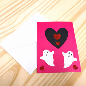 "Pink ""We Boo-Long Together"" Ghost Valentine's Day Greeting Card"