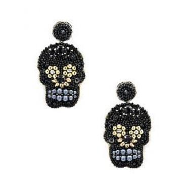 Beaded Skull Earrings in Black