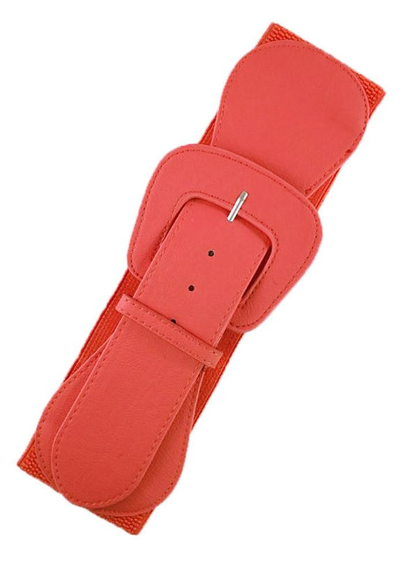 Faux Leather Elastic Cinch Belt, Flamingo Pink