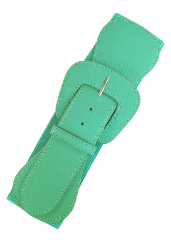 Faux Leather Elastic Cinch Belt, Mint