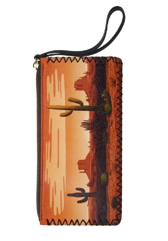 Boho Desert Sunset Cactus Faux Leather Wristlet Wallet