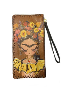 Frida Inspired Faux Leather Wristlet Wallet
