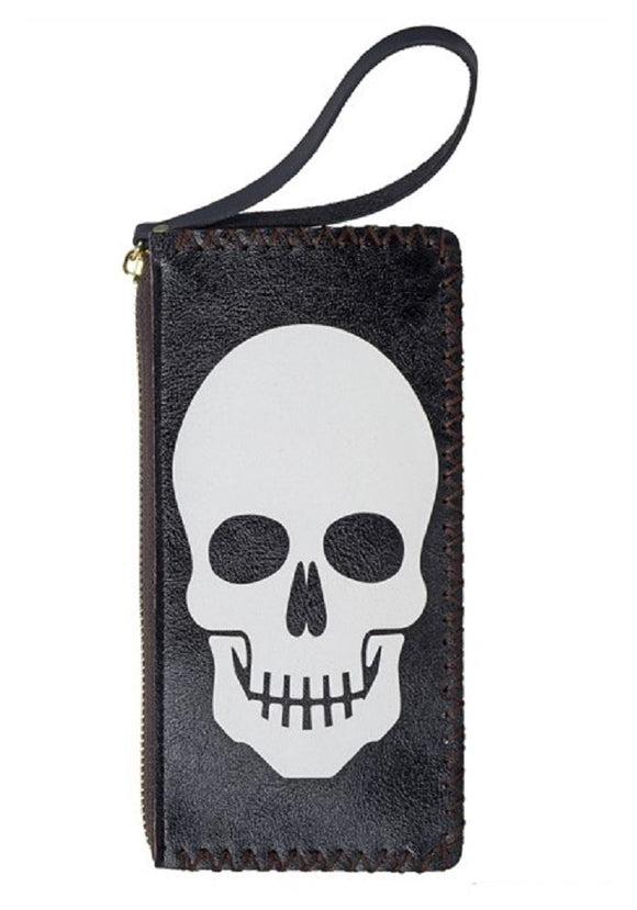 Classic Skull Faux Leather Wristlet Wallet