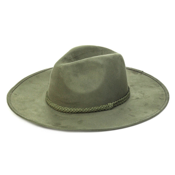 Faux Suede Rope Detial Fedora Hat in Dark Olive