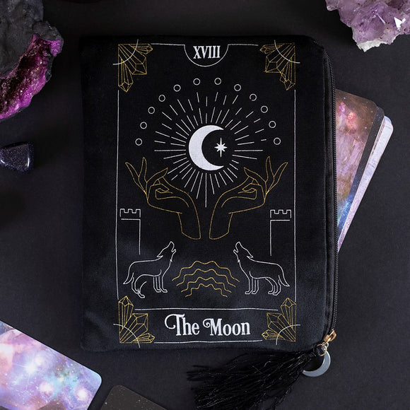 The Moon Tarot Card Zippered Velvet Bag