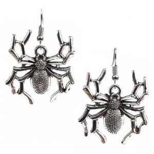 Light Silver Spider Earrings