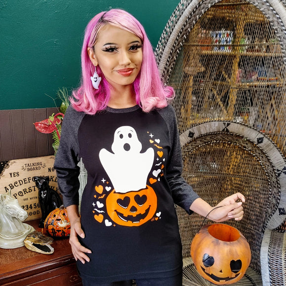 We Boo-Long Together Unisex Raglan Shirt in Black & Heather Charcoal