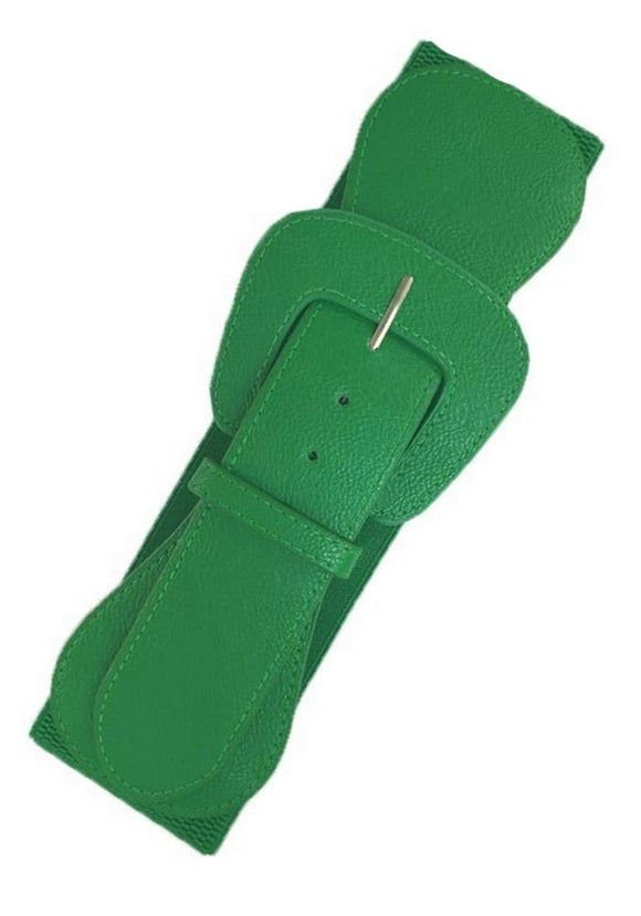 Faux Leather Elastic Cinch Belt, Green