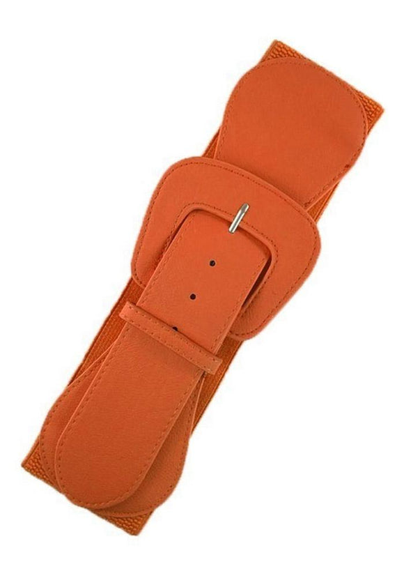 Faux Leather Elastic Cinch Belt, Orange