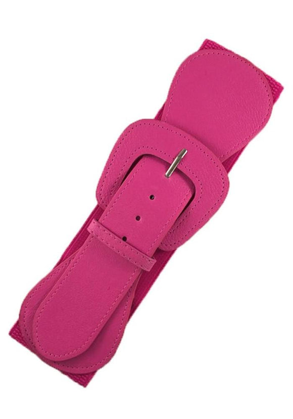 Faux Leather Elastic Cinch Belt, Hot Pink