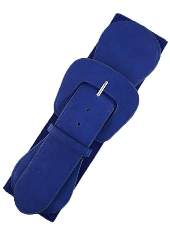 Faux Leather Elastic Cinch Belt, Royal Blue