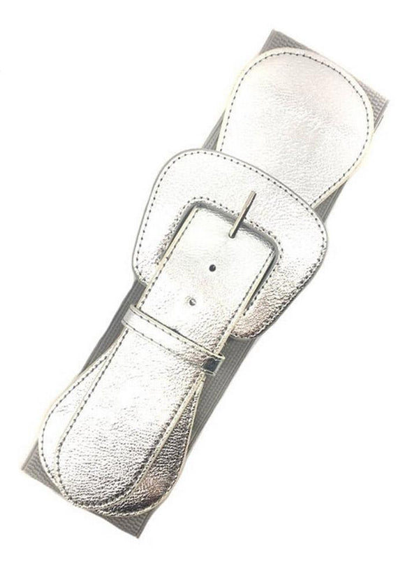 Faux Leather Elastic Cinch Belt, Silver
