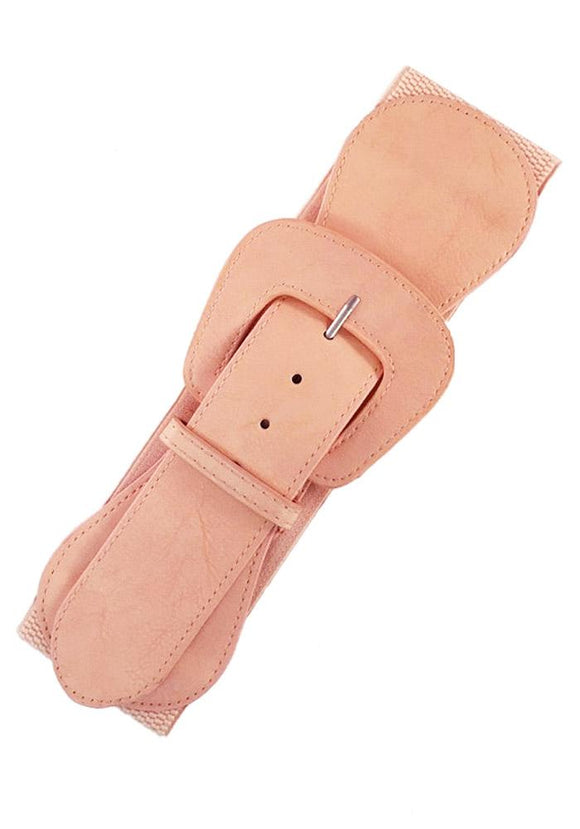 Faux Leather Elastic Cinch Belt, Blush Pink