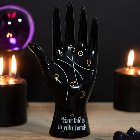Black Ceramic Palmistry Hand Ornament