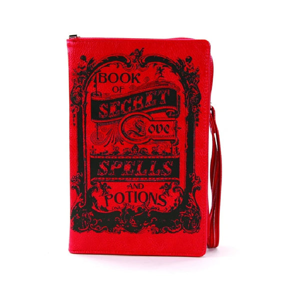 Book of Love Spells Witchy Clutch Bag in Red