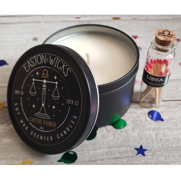 Cactus Flower ♎ Libra Zodiac Birthday soy candle