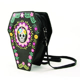 Sugar Skull Coffin Convertible Crossbody Bag Backpack