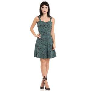 Ouija Choices Print Skater Dress in Slate Teal