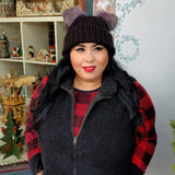 Black Knit Beanie Hat wit Fuzzy Faux Fur Puff Ears