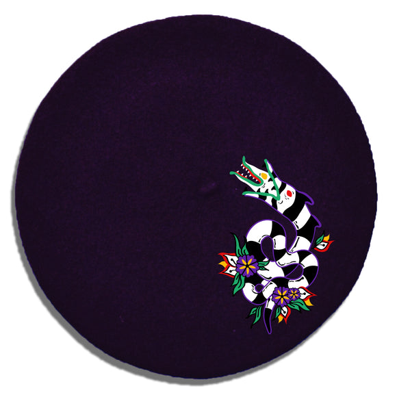 Slithering Sandworm Embroidered Beret in Purple