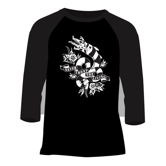 Never Trust the Living Sandworm Unisex Raglan Shirt in Black & Heather Charcoal