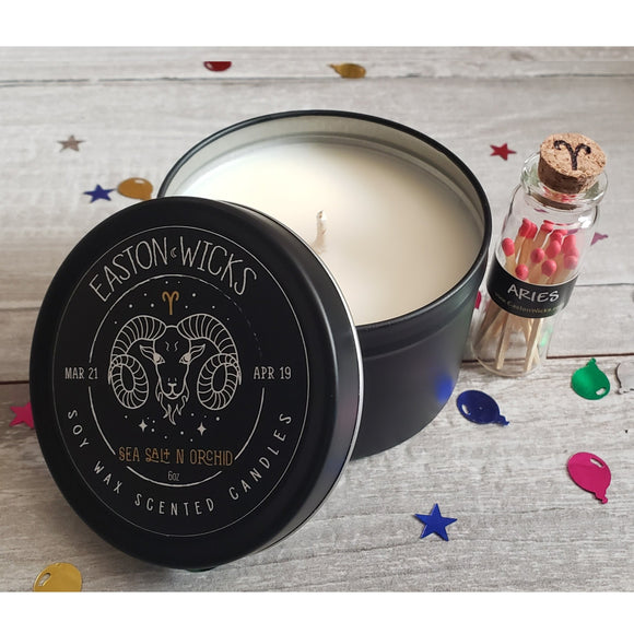 Sea Salt n Orchid ♈ Aries Zodiac Birthday soy candle