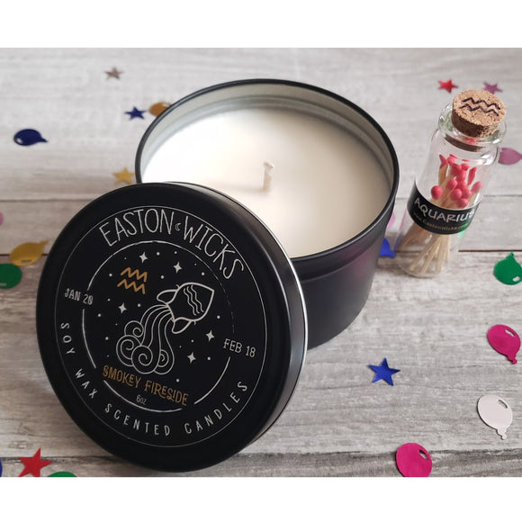 Smokey Fireside ♒ Aquarius Zodiac Birthday soy candle