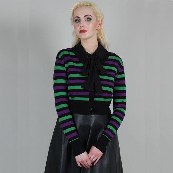 (Comimg Soon) Beetlejuice Ispired Stripe Crop Cardigan