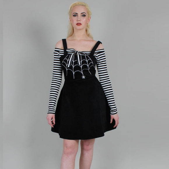 (Coming Soon) Charlotte Spider Web Embroidery Overall Corduroy Dress