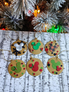 Assorted Set of 6 Ornament Shaped Disney Mickey Mouse Inspired 3D Christmas Gift Tags