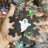 Wooden Creepy Snowflake Ghost Christmas Tree Ornament